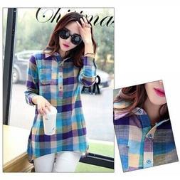 Women Lady Flannel Blue Loose Plaid Blouse Cotton Long Sleev
