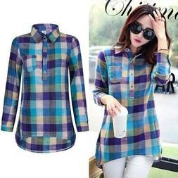 women lady flannel loose plaid blouse cotton