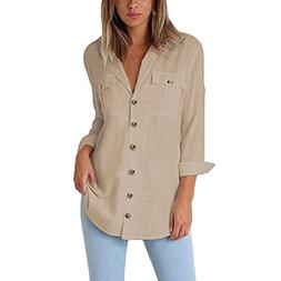 XOWRTE Women's Loose Button Cotton Ladies Casual Autumn Long