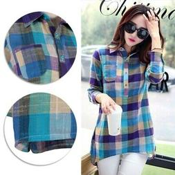 Women Loose Plaid Blouse Cotton Long Sleeve Party Lapel Plai