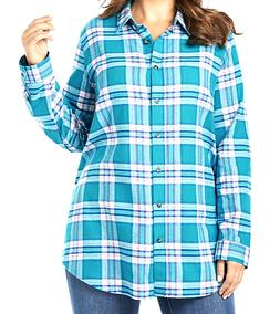 Women's 4X 4XL Flannel Shirt Plaid 3X 30/32 Bust 66 Tunic Le