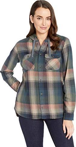 Carhartt Women's Beartooth Hooded Flannel Shirt, elm, Large