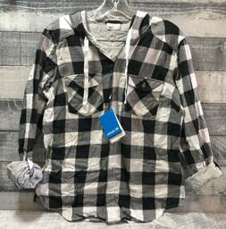 Women's Columbia Black and White Plaid Hooded Flannel Shirt