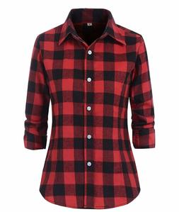 Benibos Women's Check Flannel Plaid Shirt