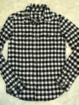 Carhartt Women's Flannel Shirt Size XS 0/2 Black & White Che