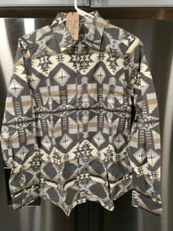 Woolrich Women's Gray Flannel Shirt  Keystone Print Long Sle