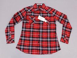 Ochenta Women's Long Sleeve Button Down Plaid Flannel Shirt