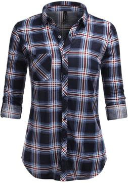 Jj Perfection Women'S Long Sleeve Collared Button Down Plaid