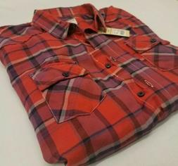 Women's Long Sleeve Cotton Flannel Plaid Shirt Red/Purple -