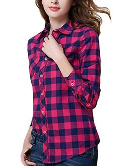 Tanming Women's Long Sleeve Fashion Plaid Shirts X-Small, Ro
