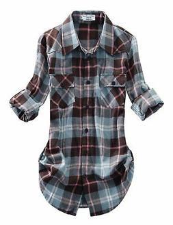 Match Women's Long Sleeve Plaid Flannel Shirt #2021X-Large C