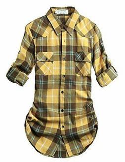 UUYUK Mens Casual Plaid Flannel Fleece Long Sleeve Dress Button Down Shirt
