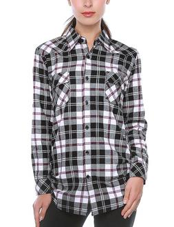 Match Women's Long Sleeve Plaid Flannel Shirt #2021Large, Ch