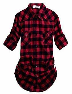 Match Women's Long Sleeve Plaid Flannel Shirt #2021, 2021 Ch