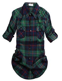 Match Women's Long Sleeve Plaid Flannel Shirt #2021Medium, C