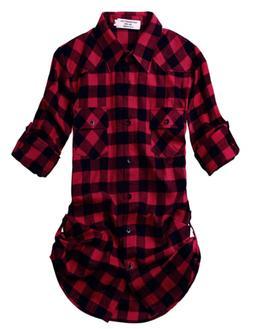 Match Women's Long Sleeve Plaid Flannel Shirt #2021 X-Large,