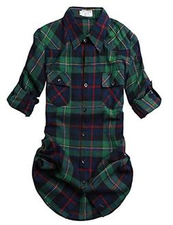 women s long sleeve plaid flannel shirt