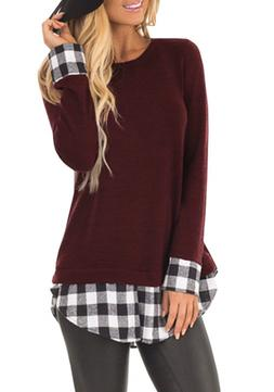 SUNNYME Women's Long Sleeves Plaid Shirts Blouses Crew Neck