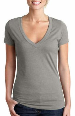 Next Level Women's Rib Knit CVC Deep V Neck Extreme Soft T-S