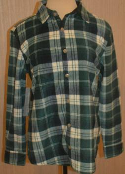 Women's Lee Riders Green Plaid Button Front Long Sleeve Flan