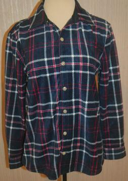 Women's Lee Riders Navy Plaid Button Front Long Sleeve Flann