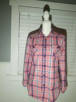 women s roll up sleeve flannel plaid