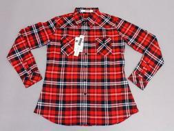 Ochenta Women's Roll-Up Sleeve Flannel Plaid Button-Up Shirt