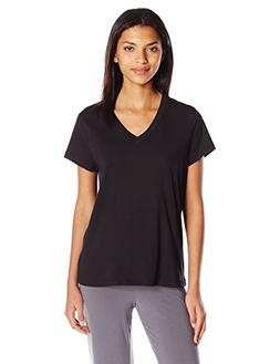 HUE Women's Short Sleeve V-Neck Sleep Tee, Black, Small
