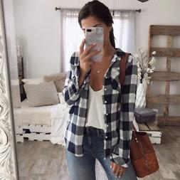 Women Spring Flannel Plaid Shirt Soft Relaxed Button-front C