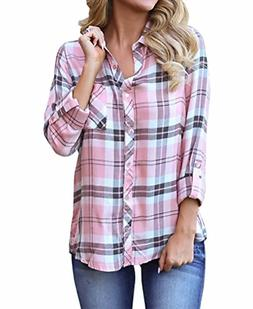 Grace Elbe Women's Collared Cuffed Sleeve Plaid Flannel Sh