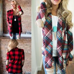 Womens Flannel Plaid Long Sleeve Loose Shirts Cardigan Casua