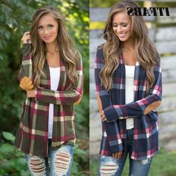 Womens Flannel Plaid Long Sleeve Shirts Casual Loose Cardiga