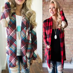 Womens Flannel Plaid Long Sleeve Shirts Casual Loose Cardiga