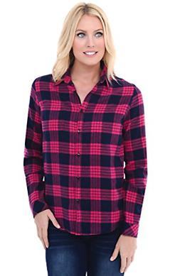 Alexander Del Rossa Womens Flannel Shirt, Button-Down Cotton