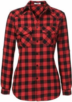 Zeagoo Womens Flannels Long/Roll Up Sleeve Plaid Shirts Cott