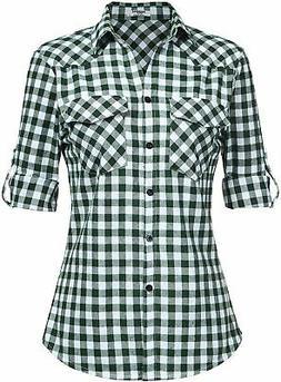 Zeagoo Womens Flannels Long/Roll Up Sleeve Plaid Shirts Cott
