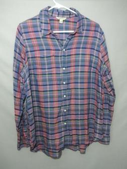 Lucky Brand Womens large flannel plaid shirt  button down tu