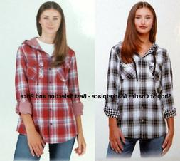 Boston Traders Womens Lightweight Hooded Flannel Shirt Doubl