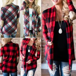 Womens Long Sleeve Flannel Plaid Shirts Cardigan Blouse Casu