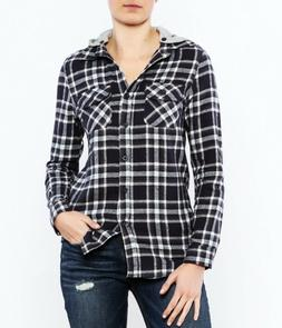 Womens Plaid Flannel Button-Down Hoodies Shirts in Black/Gre