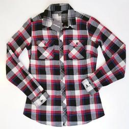 Eddie Bauer Womens Shirt Stine's Mixed Plaid Flannel Black R