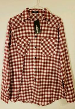Zeagoo Womens Size L Tartan Plaid Checkered Maroon Flannel S