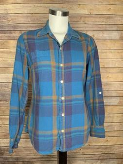 Lucky Brand Womens Size Small Button Down Flannel Shirt Blue