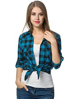 Zeagoo Womens Tartan Plaid Flannel Shirt, Roll up Long Sleev