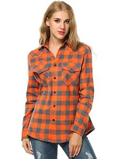 Zeagoo Womens Tartan Plaid Flannel Shirts, Roll up Sleeve Ca