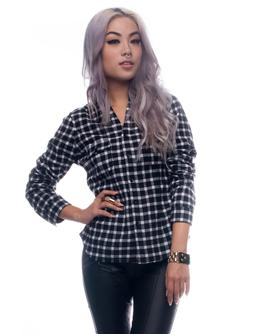 Womens Tops Black & White Long Sleeve Button Down Checkered