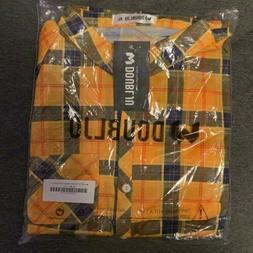 Women's Yellow And Blue Plaid DoublJu Flannel Shirt-Size X