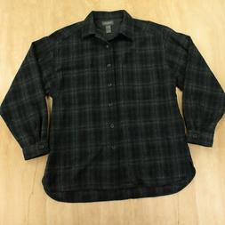 VAN HEUSEN wool blend flannel shirt LARGE dark plaid vtg