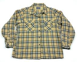 Pendleton Wool Flannel Tan Plaid Flap Pocket Loop Shirt FITS