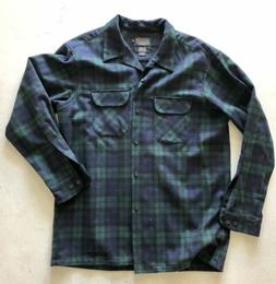 Pendleton Wool Shirt Men's Large Flannel Green And Blue Pl
